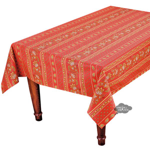 "58x84"" Rectangular Lisa Red Cotton Coated Provence Tablecloth by Le Cluny"