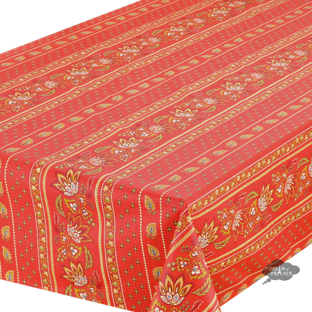 "60x 96"" Rectangular Lisa Red Cotton Coated Provence Tablecloth - Close Up"