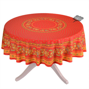 "68"" Round Lisa Red Cotton Coated French Tablecloth by Le Cluny"