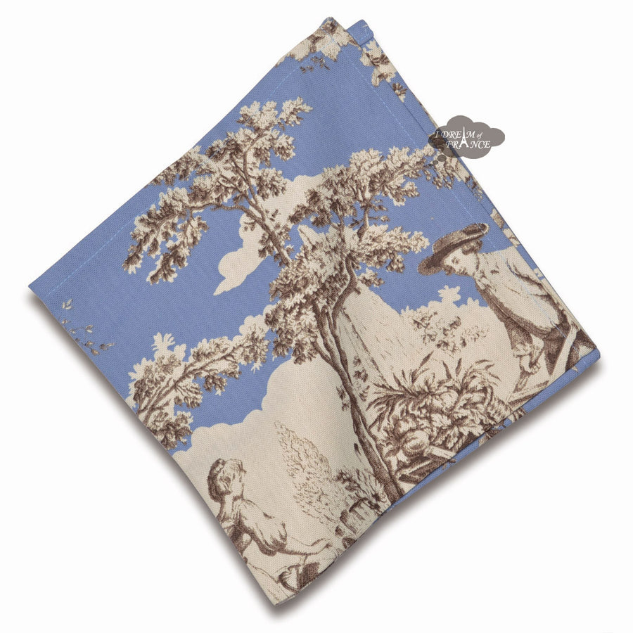 Pastorale Toile Blue Cotton Napkin by Le Cluny