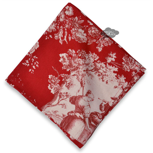 Pastorale Toile Red Cotton Napkin by Le Cluny