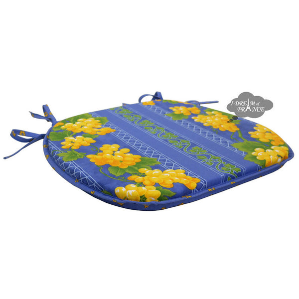 Grapes Blue Coated French Style Chair Pad by Le Cluny