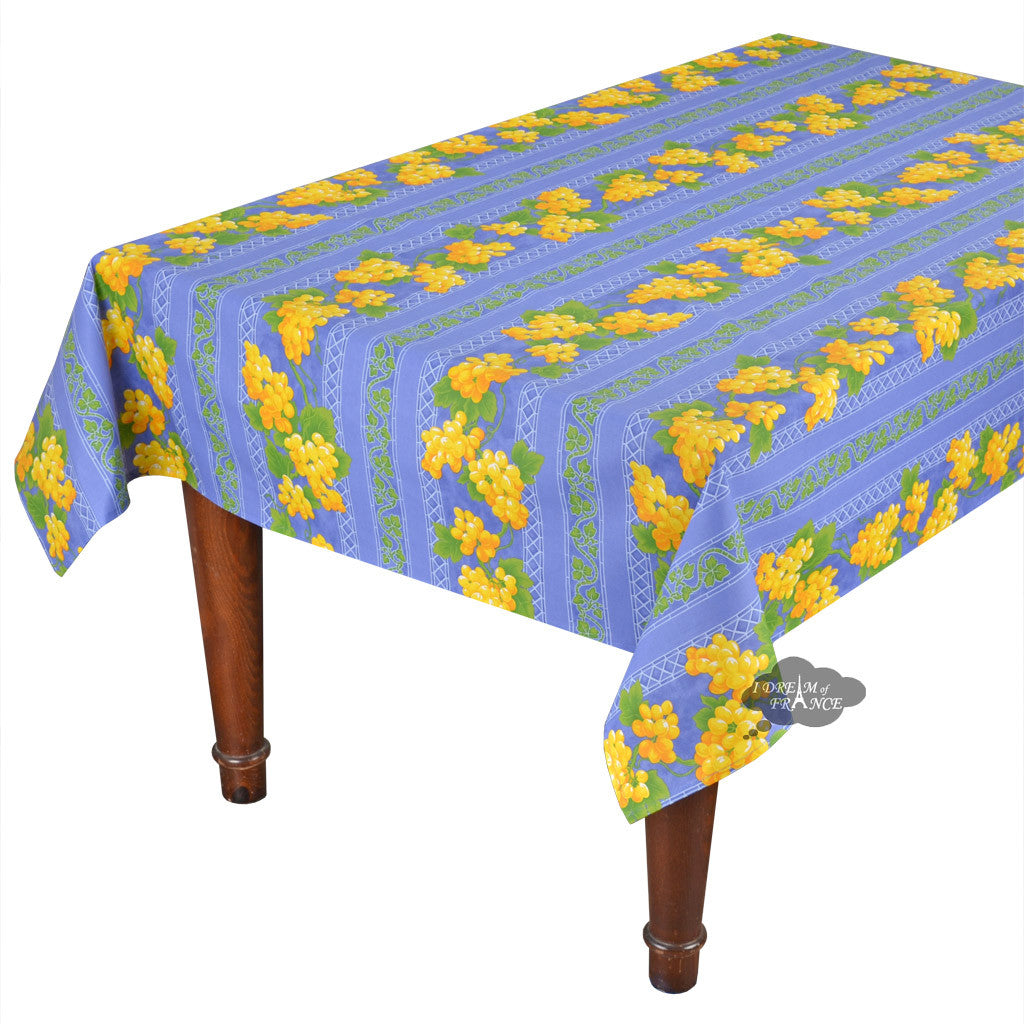 "60x 96"" Rectangular Grapes Blue Cotton Coated Provence Tablecloth by Le Cluny"