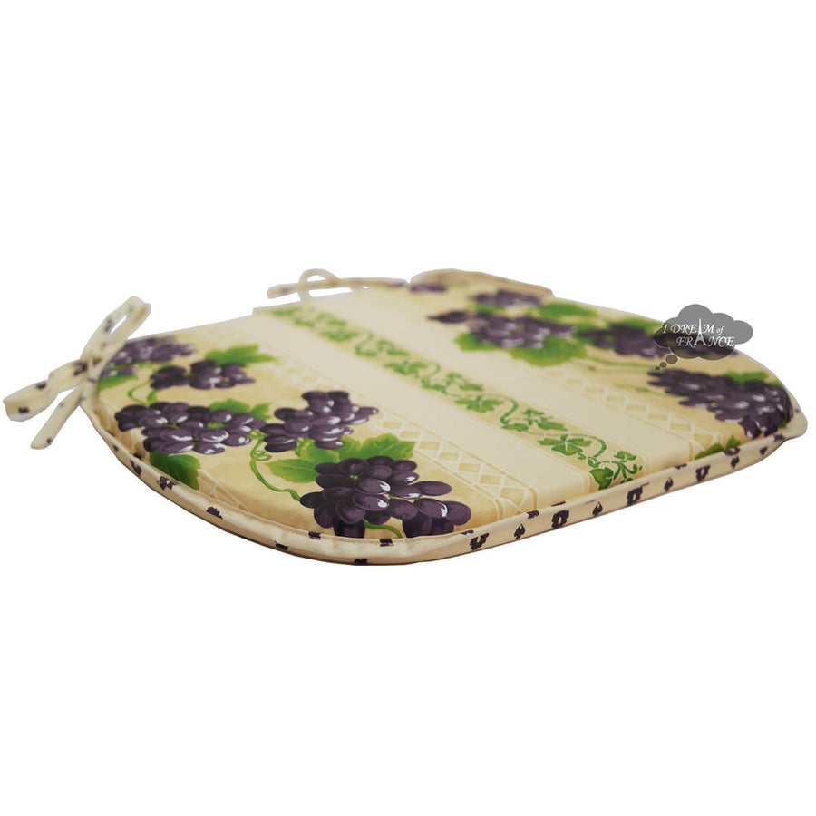 Grapes Cream Coated French Style Chair Pad by Le Cluny