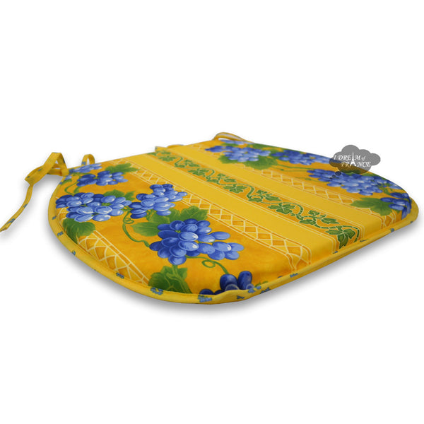 Grapes Yellow Coated French Style Chair Pad by Le Cluny