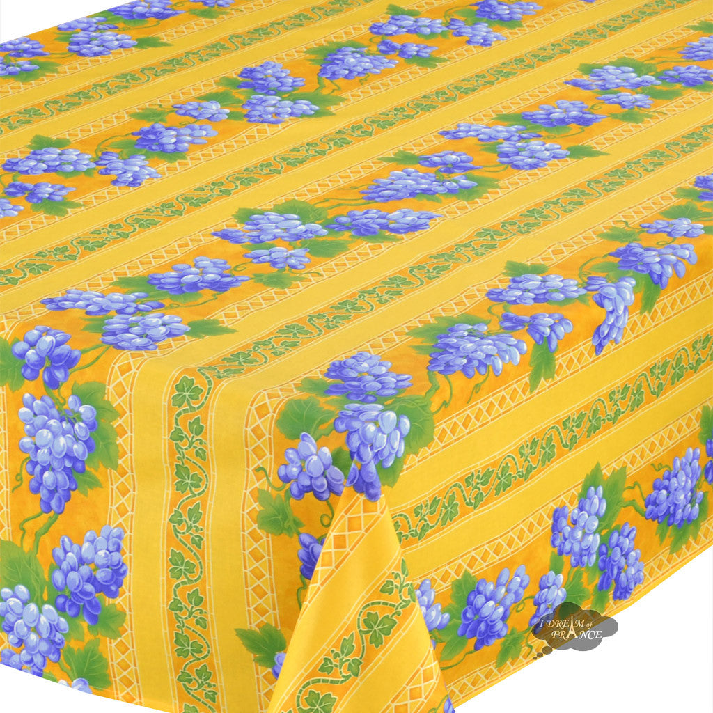 "60x108"" Rectangular Grapes Yellow Cotton Coated Provence Tablecloth - Close Up"