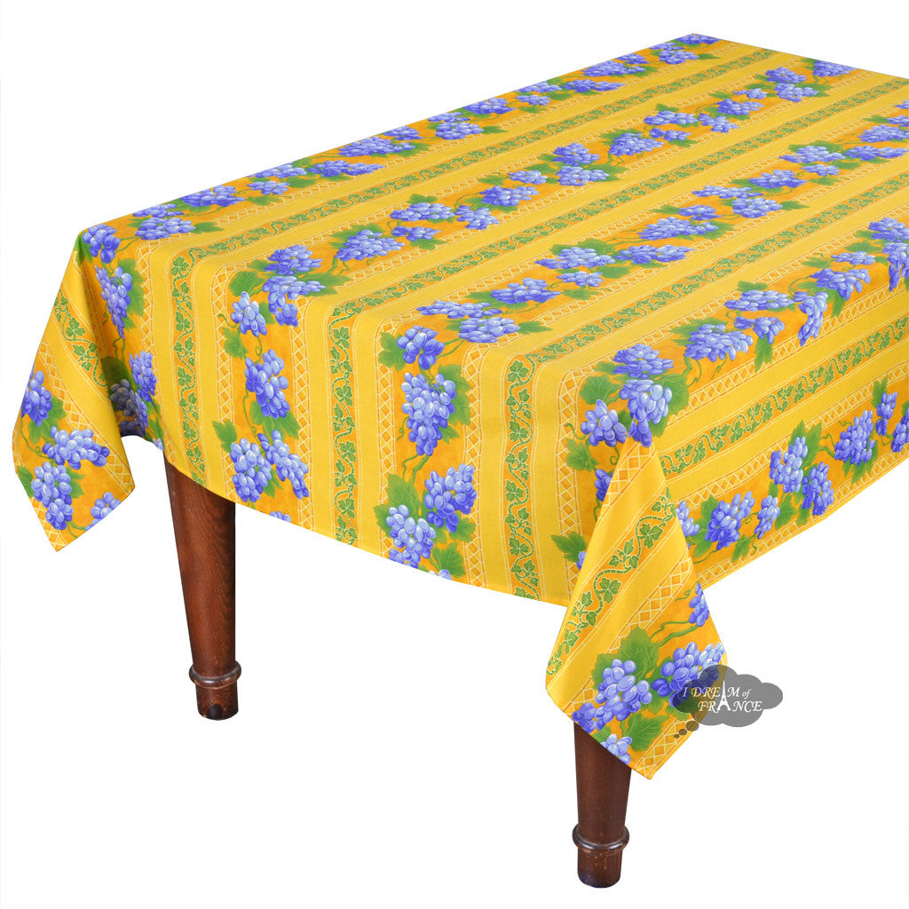 "60x 96"" Rectangular Grapes Yellow Cotton Coated Provence Tablecloth by Le Cluny"