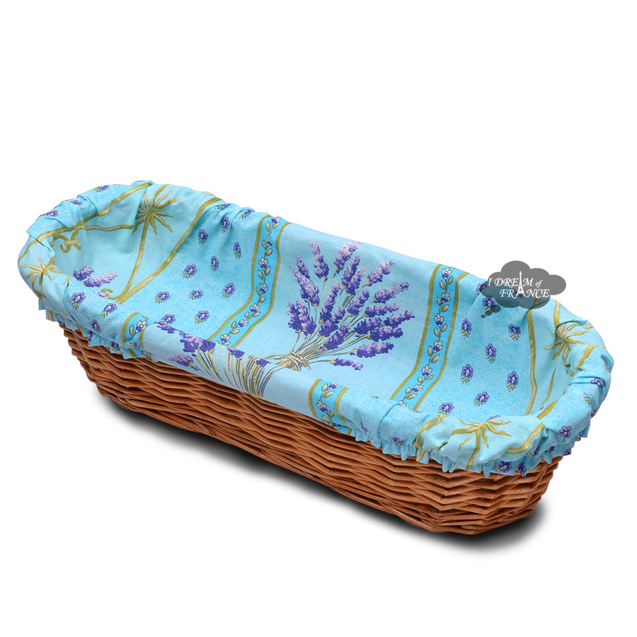 Lavender Blue Provence Baguette Basket with Removable Liner by Le Cluny