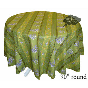 "90"" Round lavender Green Cotton Coated Provence Tablecloth by Le Cluny"