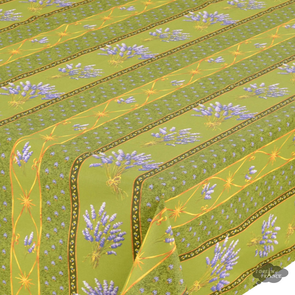 "60x 96"" Rectangular Lavender Green Cotton Coated Provence Tablecloth - Close Up"