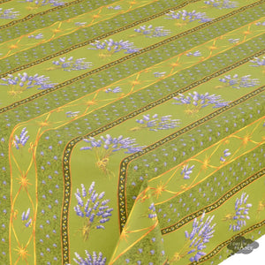 "60x108"" Rectangular Lavender Green Cotton Coated Provence Tablecloth - Close Up"