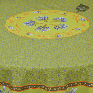"70"" Round Lavender Green Cotton Coated Provence Tablecloth by Le Cluny - Close Up"