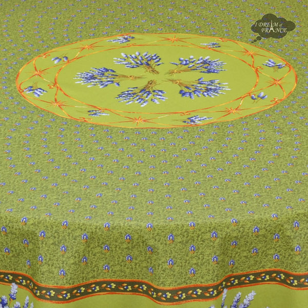 "68"" Round Lavender Green Cotton Coated Provence Tablecloth by Le Cluny"