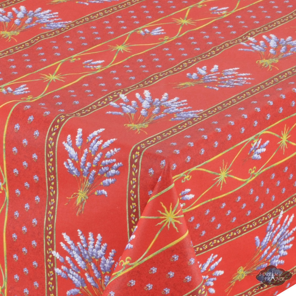 "60x108"" Rectangular Lavender Red Cotton Coated Provence Tablecloth - Close Up"