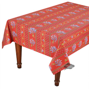 "58"" Square Lavender Red Cotton Coated Provence Tablecloth by Le Cluny"
