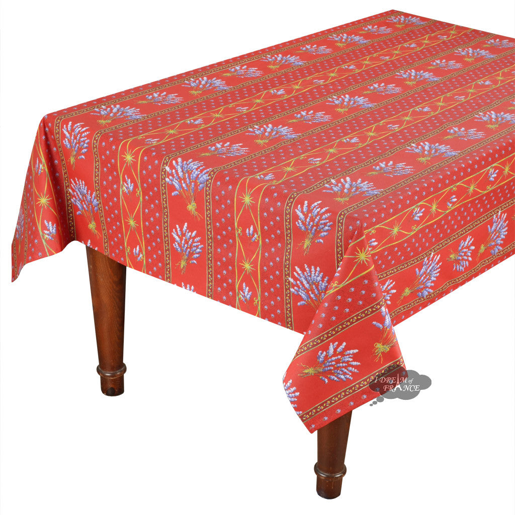 "58x84"" Rectangular Lavender Red Cotton Coated Provence Tablecloth by Le Cluny"