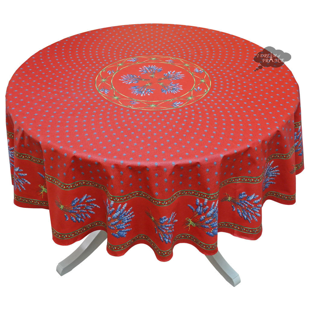 "68"" Round Lavender Red Cotton Coated Provence Tablecloth by Le Cluny"