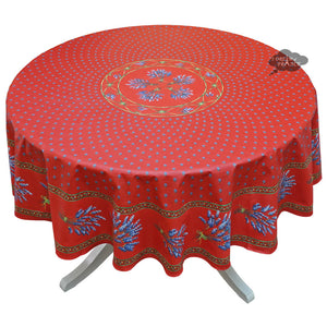 "70"" Round Lavender Red Cotton Coated Provence Tablecloth by Le Cluny"