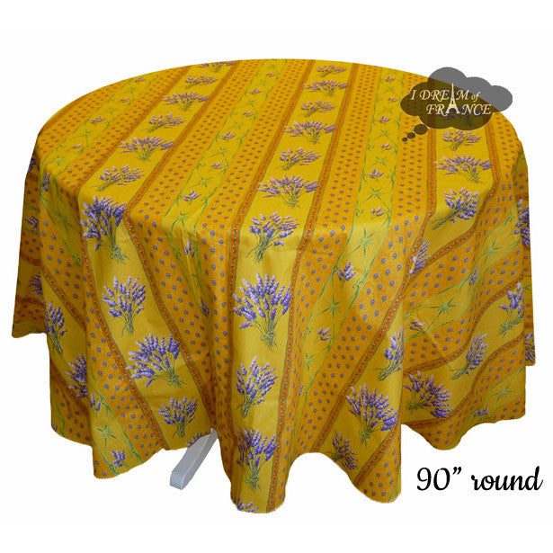 "90"" Round Lavender Yellow Cotton Coated Provence Tablecloth by Le Cluny"