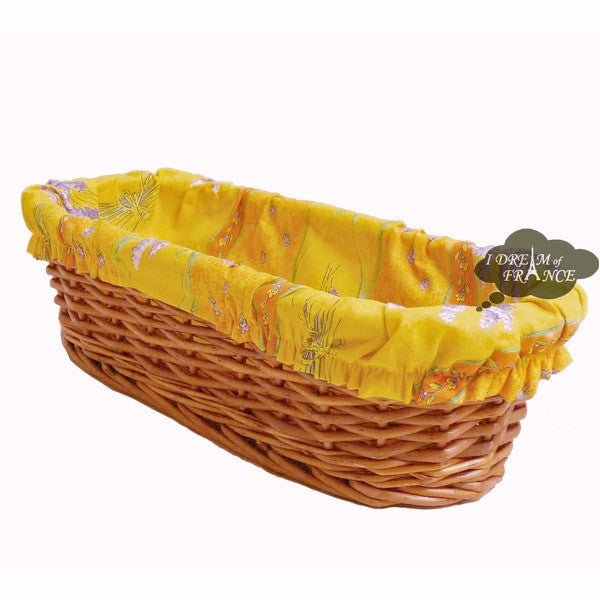 Lavender Yellow Provence Baguette Basket with Removable Liner by Le Cluny