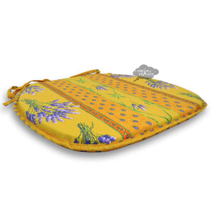 Lavender Yellow Coated French Style Chair Pad by Le Cluny