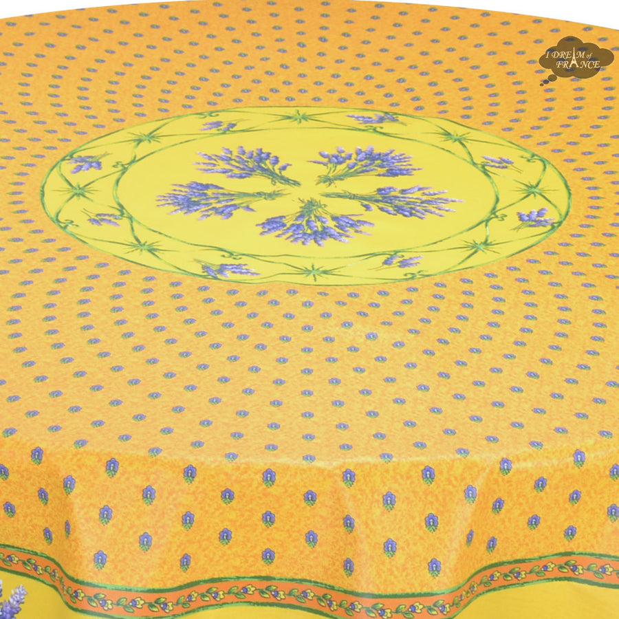 "68"" Round Lavender Yellow Cotton Coated Provence Tablecloth by Le Cluny"