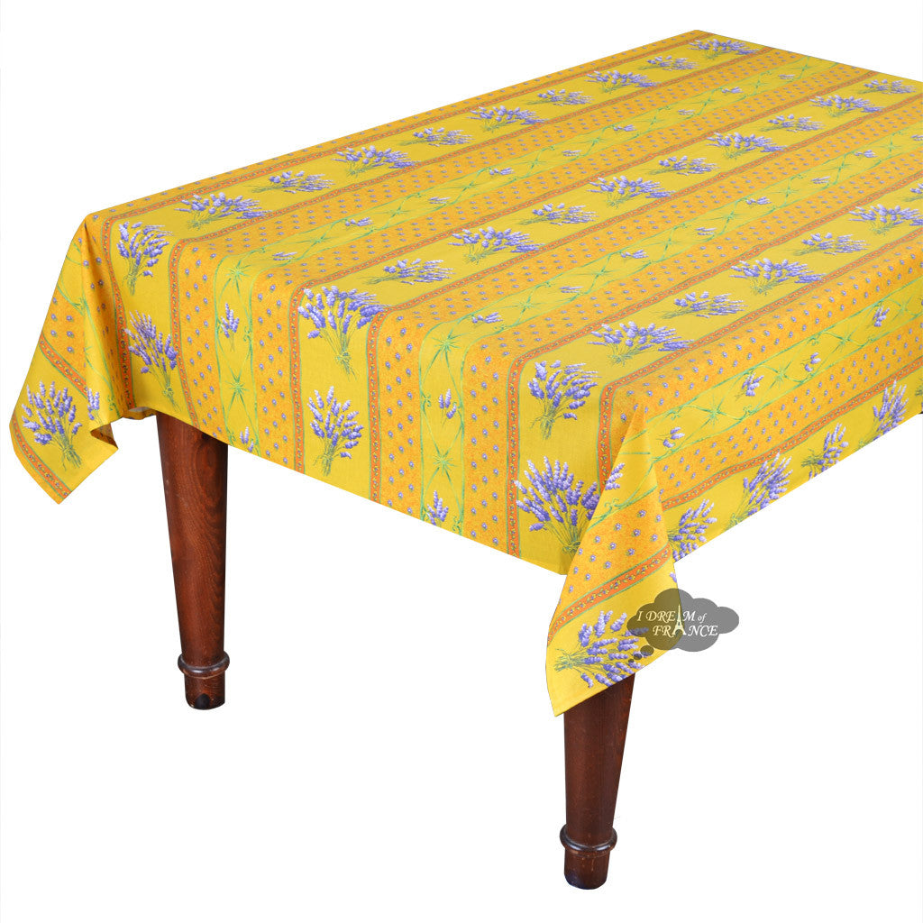 "52x72"" Rectangular Lavender Yellow Cotton Coated Provence Tablecloth by Le Cluny"