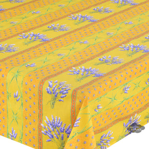 "60x108"" Rectangular Lavender Yellow Cotton Coated Provence Tablecloth - Close Up"