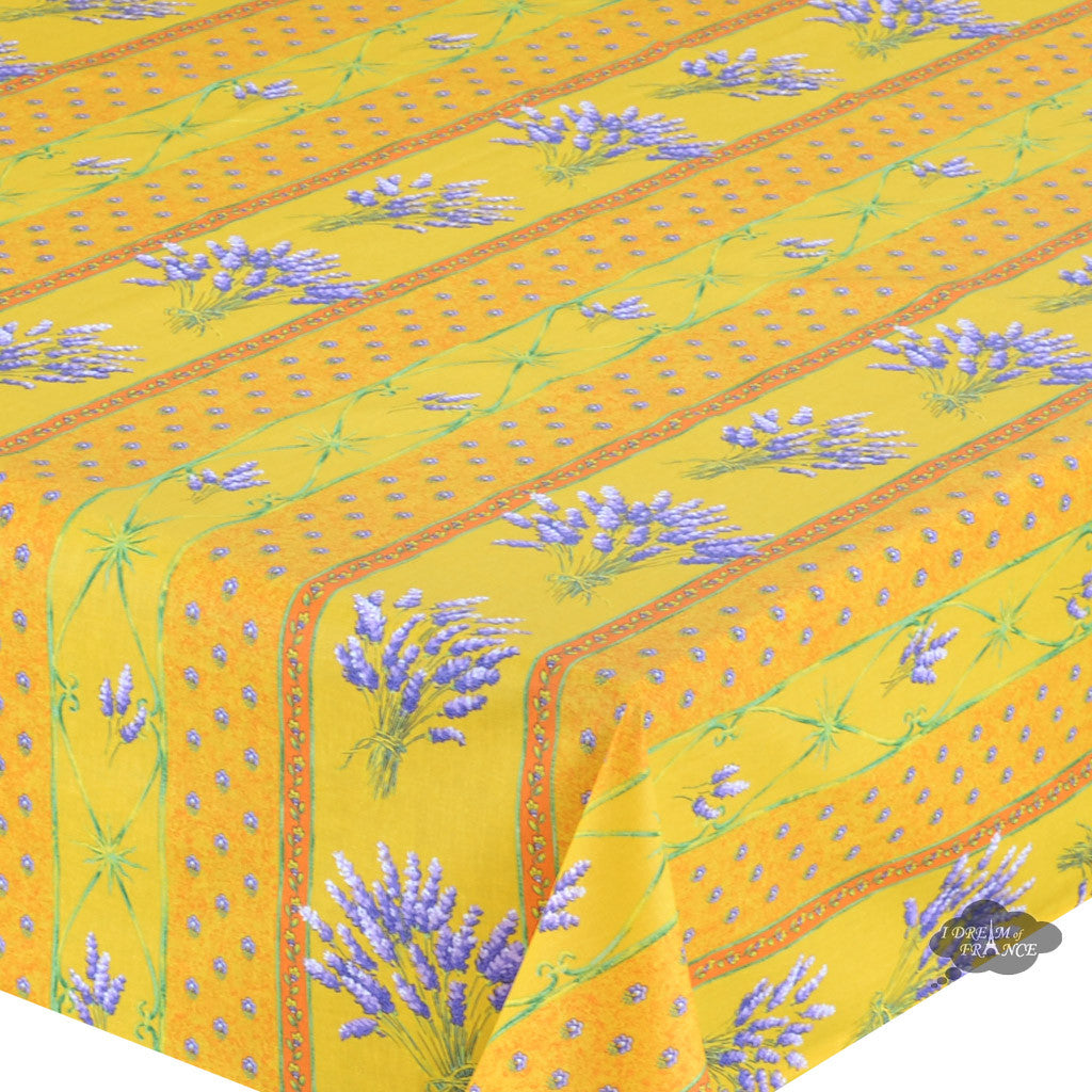 "60x 96"" Rectangular Lavender Yellow Cotton Coated Provence Tablecloth - Close Up"
