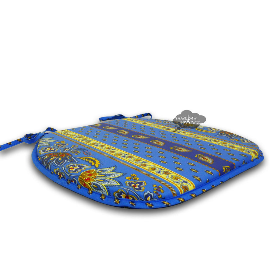 Lisa Blue Coated French Style Chair Pad by Le Cluny