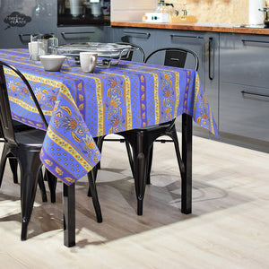 Rectangular Lisa Blue Cotton Coated French Country Tablecloth by Le Cluny