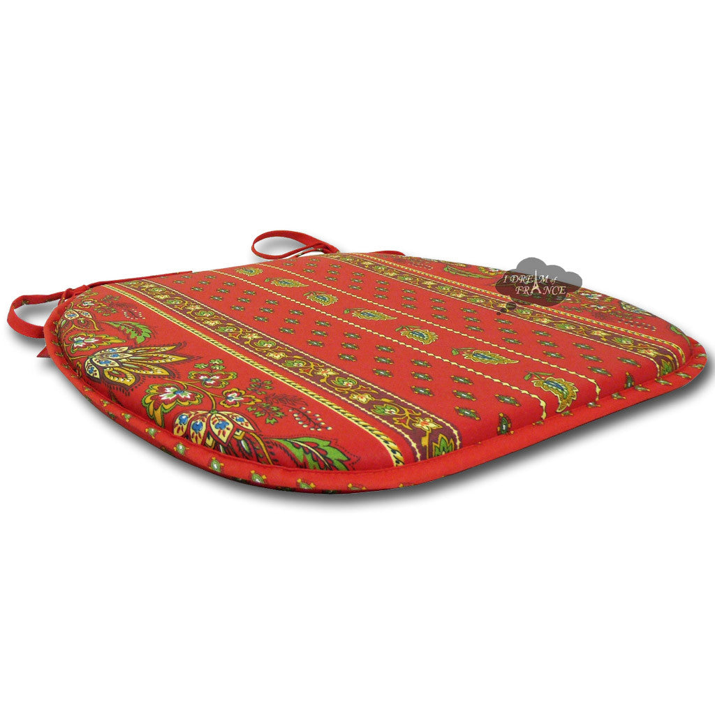 Lisa Red Coated French Style Chair Pad by Le Cluny