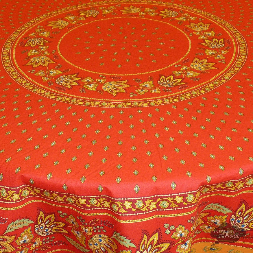 "68"" Round Lisa Red Cotton Coated Provence Tablecloth by Le Cluny"