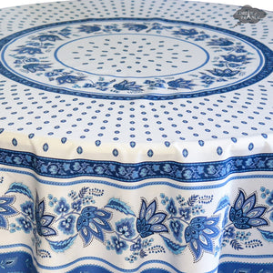 "70"" Round Lisa White Cotton French Country Tablecloth by Le Cluny"