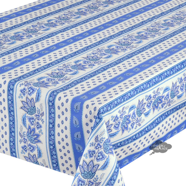 "58"" Square Lisa White Cotton Coated French Country Tablecloth by Le Cluny"