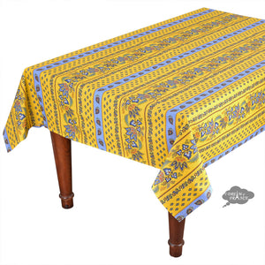 "52x72"" Rectangular Lisa Yellow Cotton Coated French Country Tablecloth by Le Cluny"
