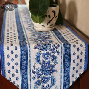 "16x72"" Lisa White Cotton Coated Provence Table Runner by Le Cluny"