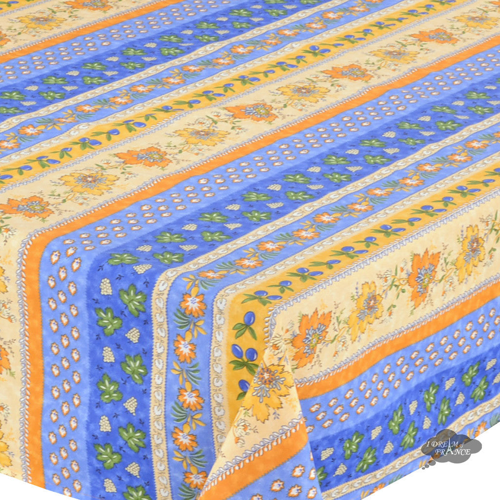 "58"" Square Monaco Blue Cotton Coated Provence Tablecloth - Close Up"