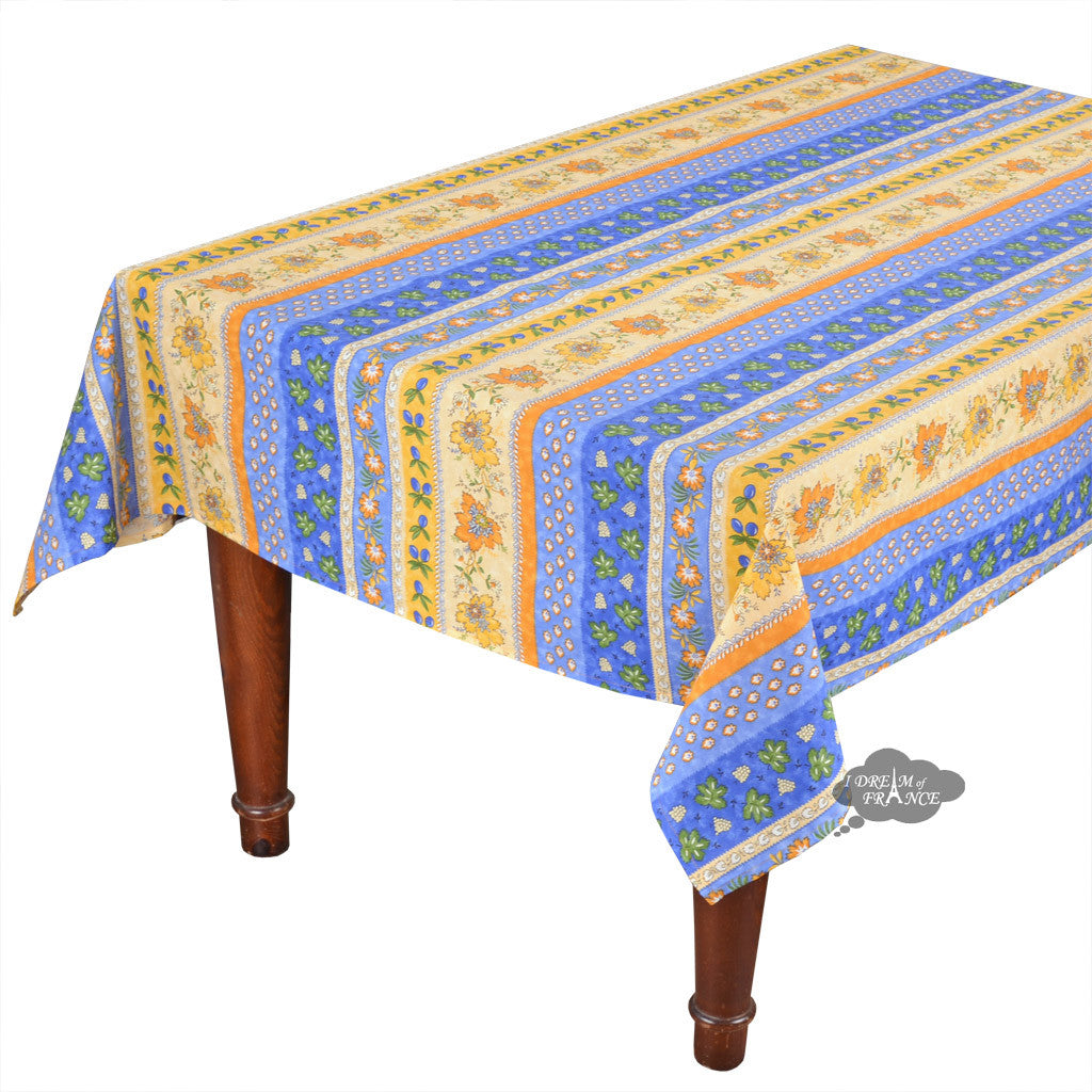 "60x108"" Rectangular Monaco Blue Cotton Coated Provence Tablecloth by Le Cluny"