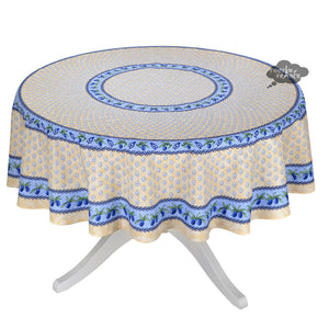 "70"" Round Monaco Beige Cotton Coated Provence Tablecloth by Le Cluny"