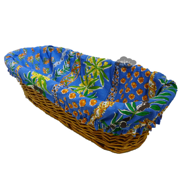 Olives Blue French Baguette Basket with Removable Liner by Le Cluny