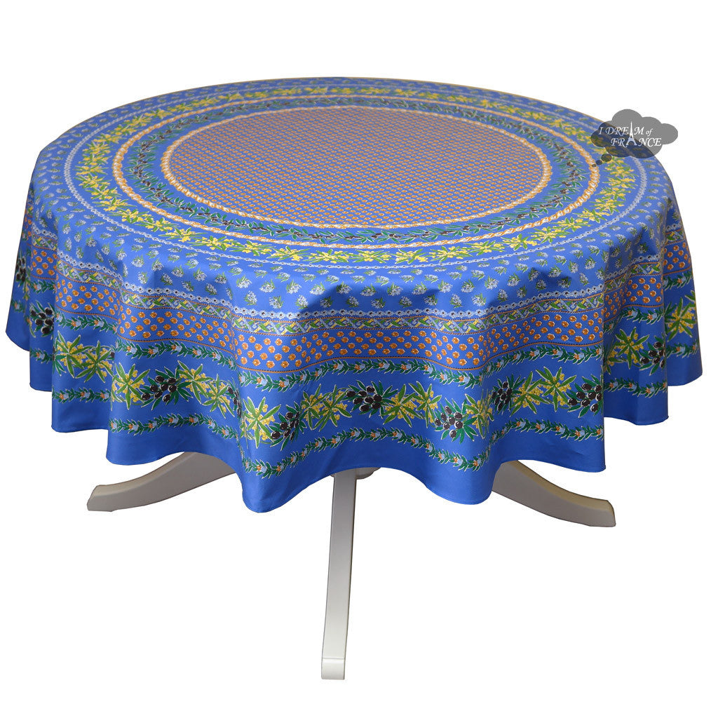"68"" Round Olives Blue Cotton Coated Provence Tablecloth by Le Cluny"