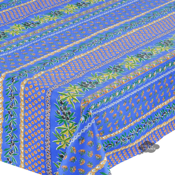 "60x132"" Rectangular Olives Blue Cotton Coated Provence Tablecloth by Le Cluny"
