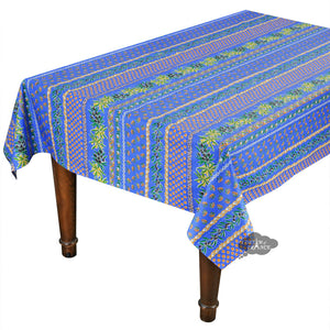 "58"" Square Olives Blue Cotton Coated Provence Tablecloth by Le Cluny"