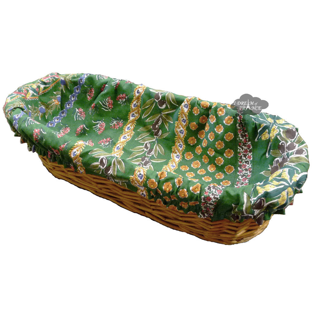 Olives Green French Baguette Basket with Removable Liner by Le Cluny
