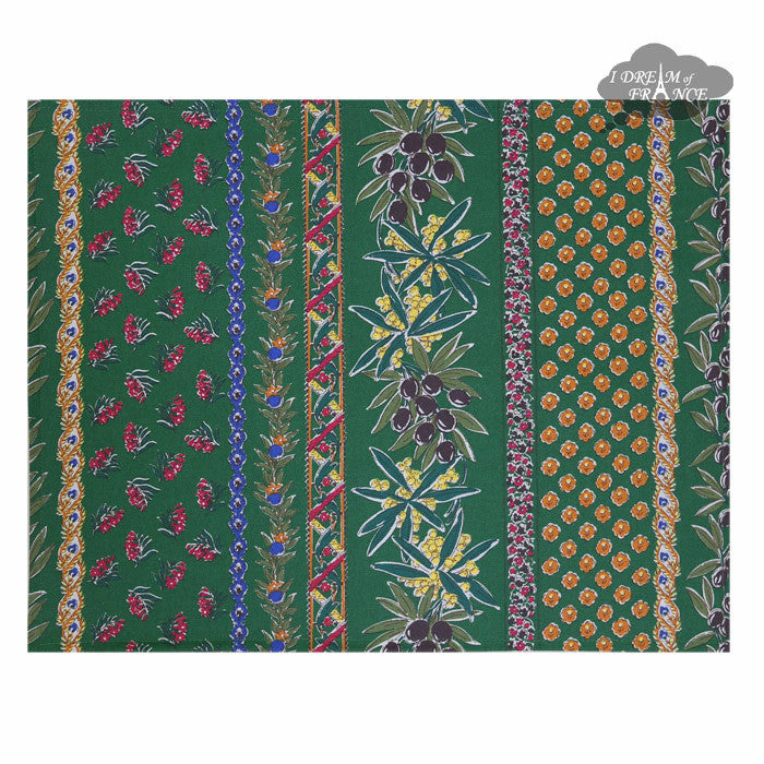 Olives Green Coated Reversible Placemat by Le Cluny