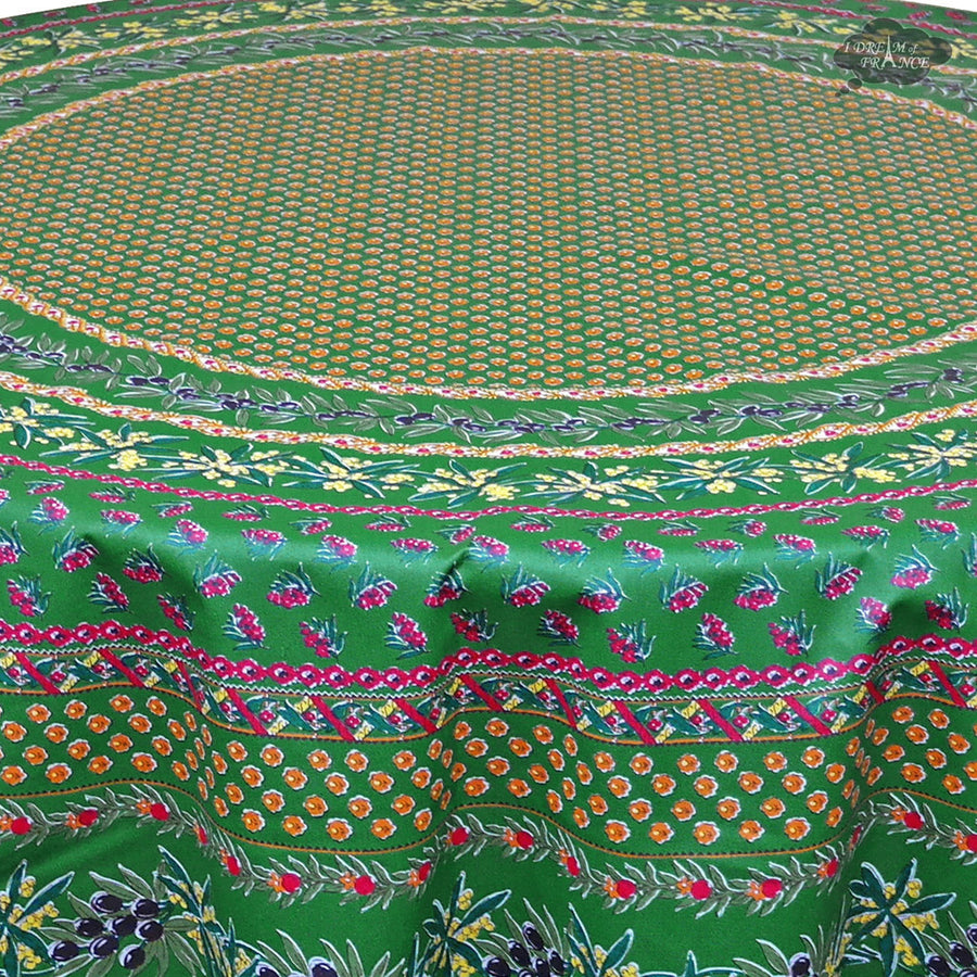 "68"" Round Olives Green Cotton Coated Provence Tablecloth by Le Cluny"
