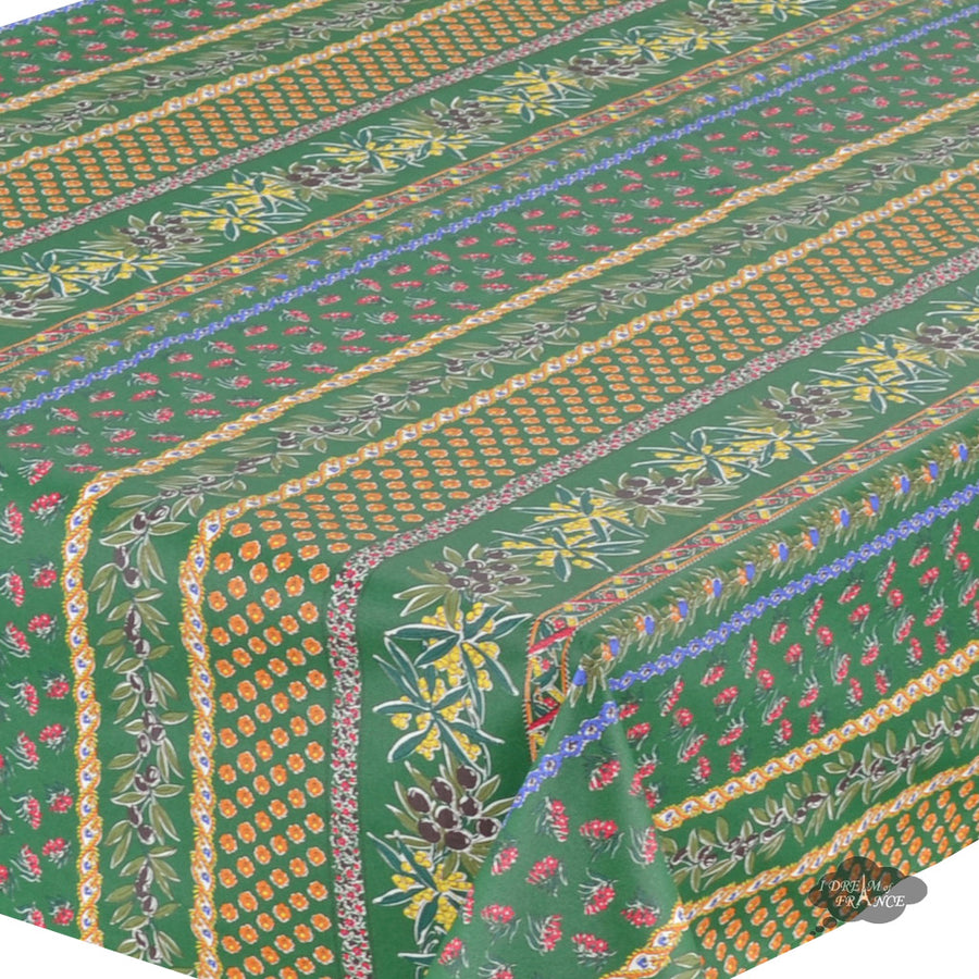 "58"" Square Olives Green Cotton Coated Provence Tablecloth by Le Cluny"