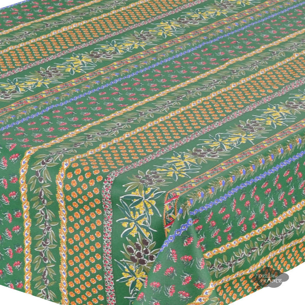 "58x84"" Rectangular Olives Green Cotton Coated Provence Tablecloth by Le Cluny"