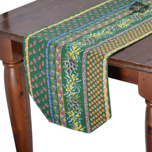 "14x72"" Olives Green Cotton Coated Provence Table Runner by Le Cluny"